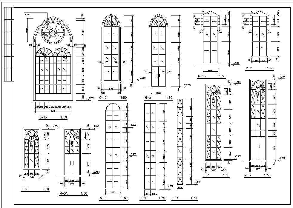 Cathedrals and church 2 download cad blocks drawings - Finestre dwg 2d ...