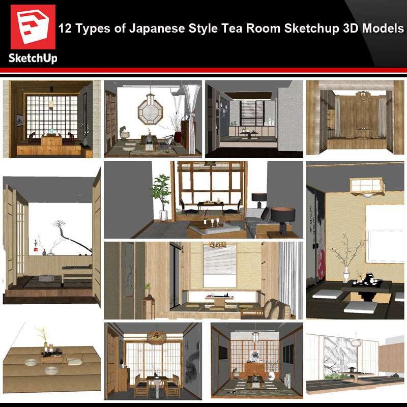Sketchup Architecture 3d Projects 12 Types Of Japanese Style Tea Room Sketchup 3d Models Free Autocad Blocks Drawings Download Center,Elementary My Portfolio Cover Design For Kids